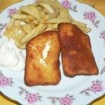 Rántott sajt, hasáb, tartármártás