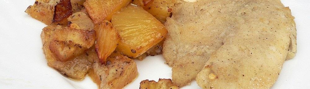 Tilápia filé, sült ananásszal