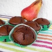 Csokis muffin, karamellizált körtével
